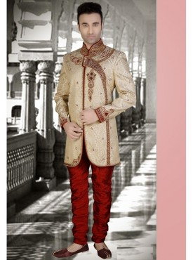 Off White Brocade Readymade Sherwani Churidar