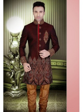 Maroon Art Silk Readymade Sherwani Churidar