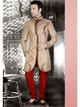 Cream Readymade Sherwani Churidar
