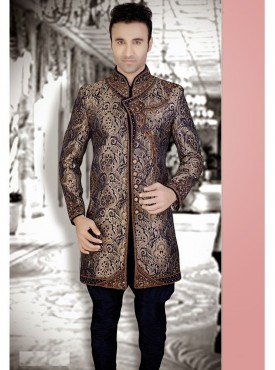 Black Brocade Readymade Sherwani Churidar