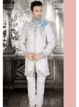 White Brocade Readymade Sherwani Churidar