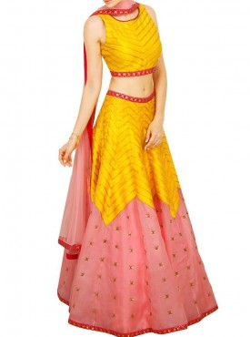 Vibrant Pink and Yellow Designer Lehenga