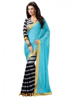 Ideal Turquoise and Black Designer Saree