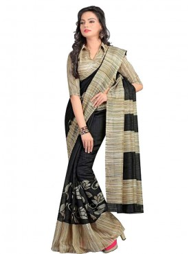Cool Black and Beige Designer Saree