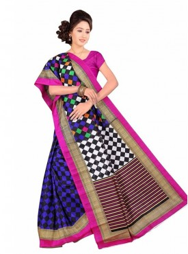 Lovely Multi and Magenta Color Designer Saree