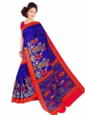 Beautiful Blue and Deep Pink Designer Saree