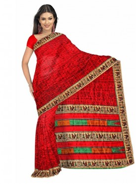 Glorious Red Color Designer Saree