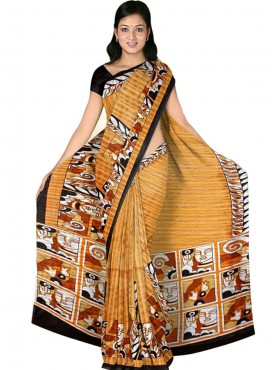 Impressive Yellow and Black Designer Saree