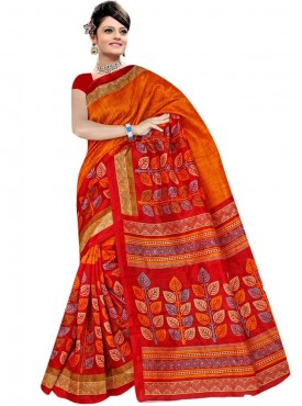 Pretty Orange and Red Designer Saree