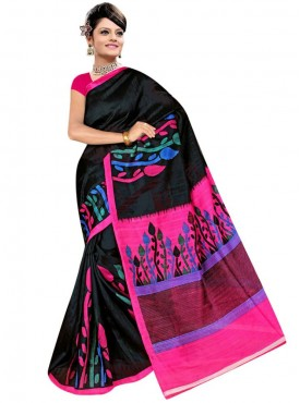 Glorious Black and Red Designer Saree