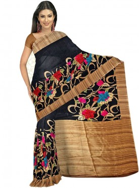 Awesome Black and Beige Designer Saree