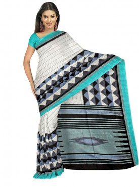 Cool Off White and Turquoise Designer Saree