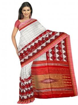 Fabulous Off White and Red Designer Saree