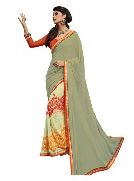 Cream Multi Georgette Saree