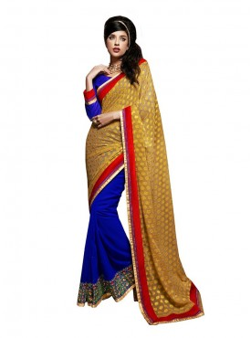 Blue Georgette Saree