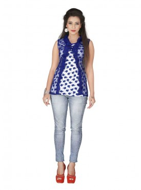 Blue White Western Top