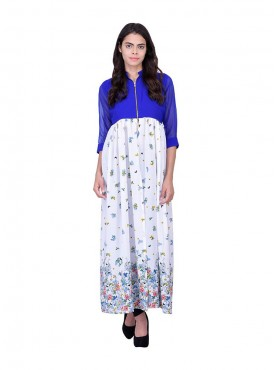 Blue,White Georgette INDO WESTERN