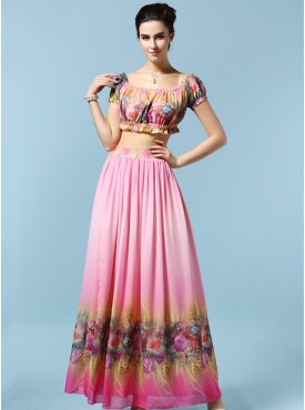 Bohemia Charming High Pieces Beach Maxi Dress Set