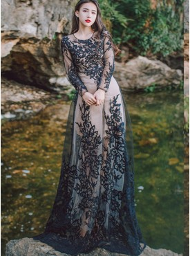 Fashion Embroidery High Waist Gauze Long Dress
