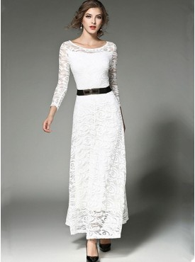 Fashion Spring Round Neck Lace Flowers Maxi Dress