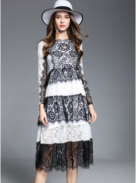 Europe Fashion Colors Block Flowers Lace Long Dress