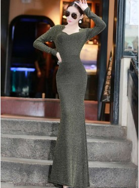 Europe Vogue Stretchable Skinny Fishtail Long Dress