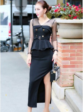Brand Fashion Split Skinny Two Pieces Dress