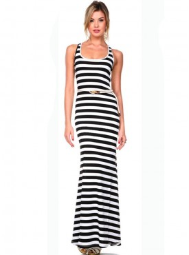 Fashion Europe High Waist Stripes Cotton Maxi Dress
