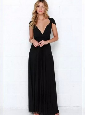 Sexy Wholesale Low V-neck Backless Cotton Maxi Dress