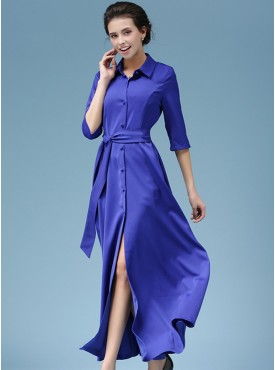 Modern Lady Single-breasted Shirt Split Long Dress