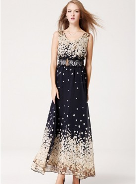 Fashion Europe Lace Belt Flowers Chiffon Long Dress