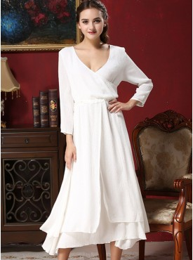 Charming Fashion Split High Waist Cotton Long Dress