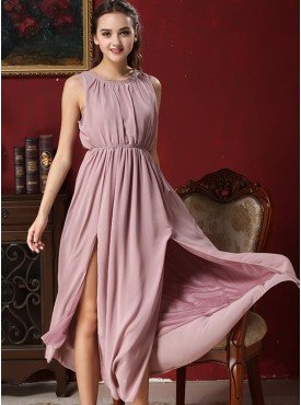 Summer Splits Elastic Waist Tank Chiffon Maxi Dress