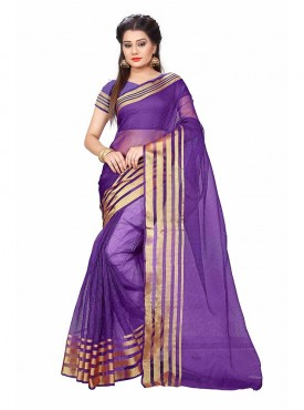 Blue Color Cotton Printed Casual Saree