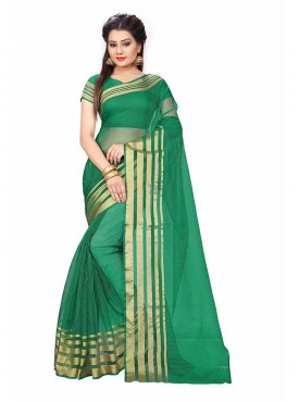 Green Color Cotton Printed Casual Saree