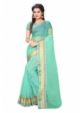 Ice Green Color Cotton Printed Casual Saree