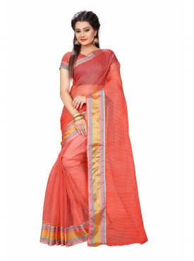 Orange Color Cotton Printed Casual Saree