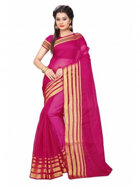 Pink Color Cotton Printed Casual Saree
