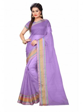 Purple Color Cotton Printed Casual Saree