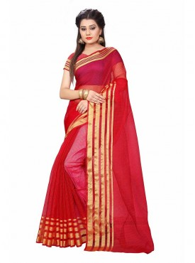 Red Color Cotton Printed Casual Saree