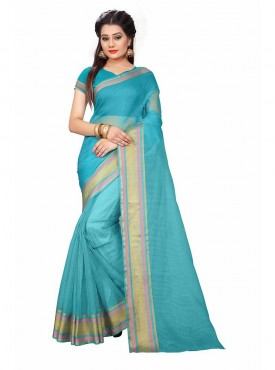 Sky Blue Color Cotton Printed Casual Saree