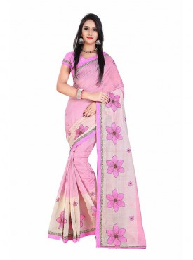 Pink Embroidered Chanderi Cotton Saree
