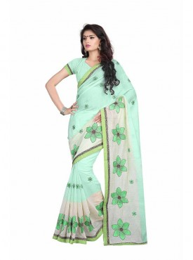 Light Green Embroidered Chanderi Cotton Saree