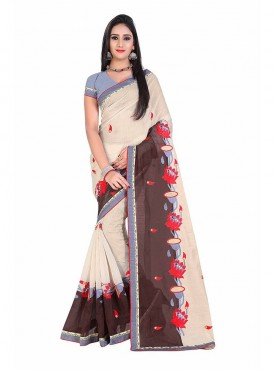 Brown and Beige Embroidered Chanderi Cotton Saree
