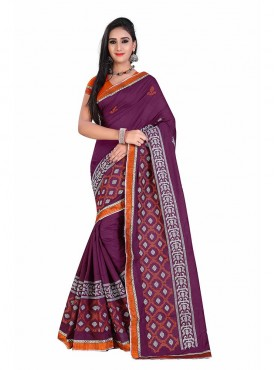 Purple Embroidered Chanderi Cotton Saree