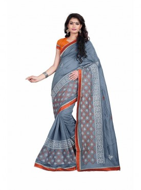 Grey Embroidered Chanderi Cotton Saree