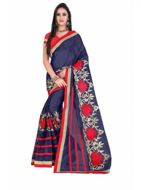 Blue Embroidered Chanderi Cotton Saree