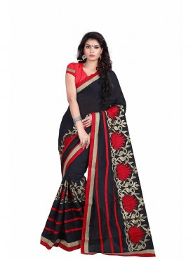 Black Embroidered Chanderi Cotton Saree