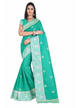 Sky Blue Embroidered Chanderi Cotton Saree