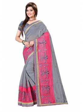 Grey and Pink Embroidered Chanderi Cotton Saree